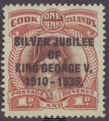 1935 Cook Islands 1d Silver Jubilee, variety, SG 113a, MH
