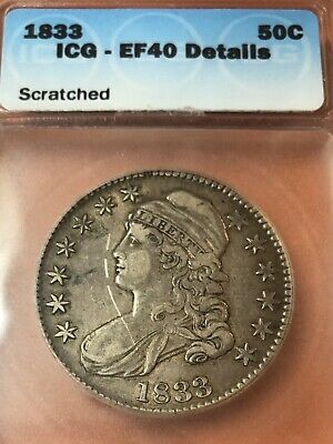 1833 Capped Bust Half Dollar ICG XF 40  Scratched