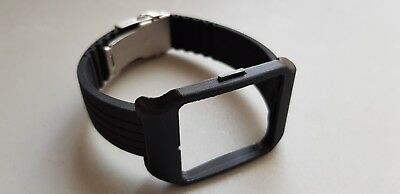 Sony SmartWatch 3 SWR50 Black Adapter & Black Silicone Strap with Clasp