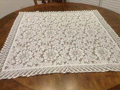 """Lace Tablecloth Floral Polyester White 33"""" X 35"""" Luncheon Victorian Chic"""