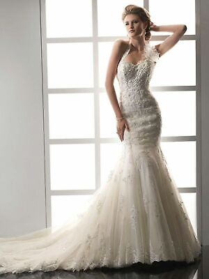 Classic Beaded Lace Mermaid Wedding Dresses Detachable