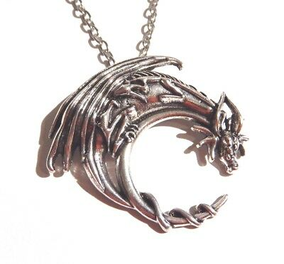 LARGE DRAGON ON CRESCENT MOON PENDANT amulet charm necklace lunar night drake H6