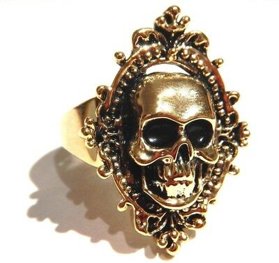 SKULL CAMEO RING gold tone antiqued skeleton halloween Gothic Victorian punk 3H