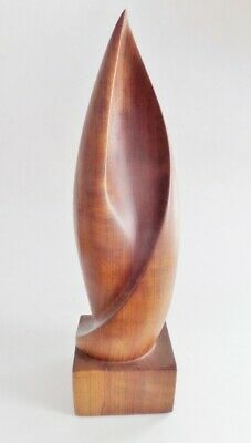 Vintage Mid Century Carved Wooden Flame Shaped Sculpture Walnut Teak Abstract