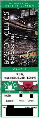 BOSTON CELTICS v CHICAGO BULLS SEASON TICKET STUB 11/28/2014 @ TD GARDEN