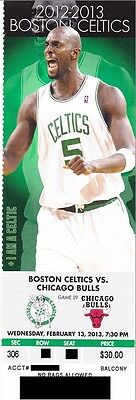 BOSTON CELTICS v CHICAGO BULLS SEASON TICKET STUB 2/13/2013 @ TD GARDEN