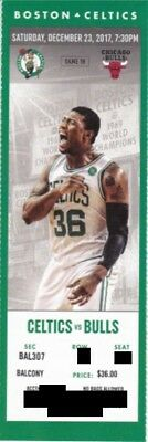 BOSTON CELTICS v CHICAGO BULLS SEASON TICKET STUB 12/23/2017 @ TD GARDEN