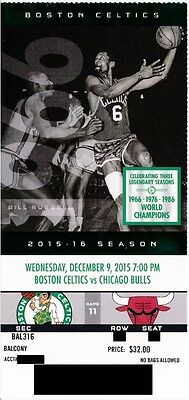 BOSTON CELTICS v CHICAGO BULLS SEASON TICKET STUB 12/9/2015 @ TD GARDEN