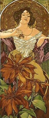 """New 59"""" X 25"""" Alphonse Mucha """"rubis"""" Belgian Tapestry Wall Hanging, Fully Lined"""