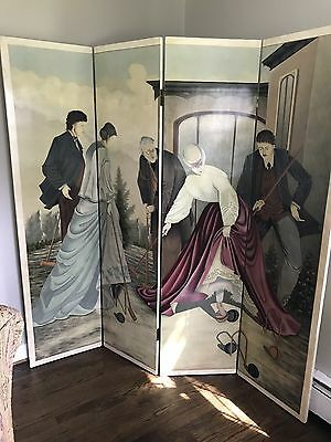 Croquet 1970S Harpers Bazaar Hand Painted Four Panel Screen Room Divider
