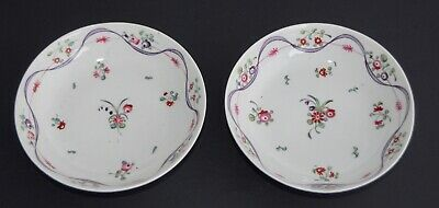 Pair of Antique Hard Paste Porcelain Bowl - Hand Paint Floral/Ribbon - Newhall