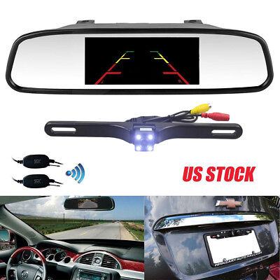 """4.3"""" Car Rear View Mirror Monitor with NightVision Backup Camera Wireless System"""