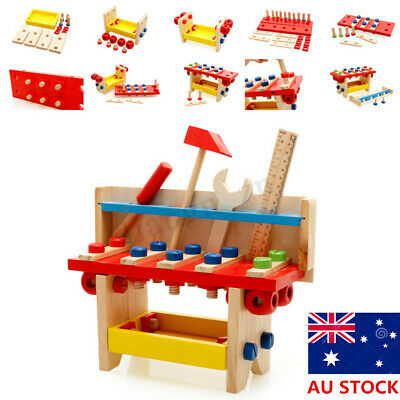 Children Wooden Work Bench Tool Set Play Kid Toy Wrench Screwdriver Scale Hammer