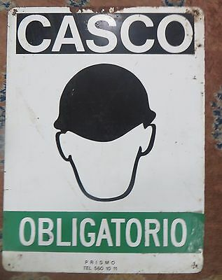 CASCO OBLIGATORIO mandatory helmet Safety Marine symbolic Enamel advertise Sign