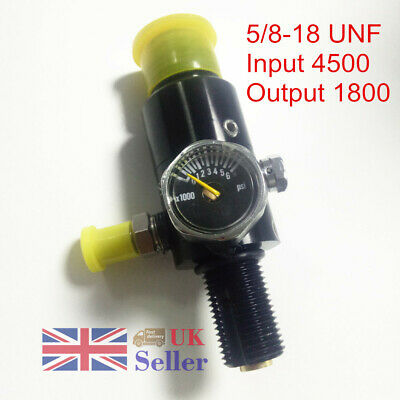 5/8-18 UNF Air Tank Valve Regulator Output 1800Psi Aluminium Black Paintball PCP