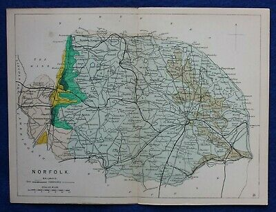 Original antique GEOLOGICAL MAP, NORFOLK, RAILWAYS, Reynolds, 1864-89