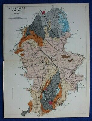 Original antique GEOLOGICAL MAP, STAFFORDSHIRE, RAILWAYS, Reynolds, 1864-89