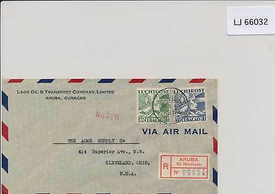 LJ66032 Curacao 1940 registered letter airmail cover used