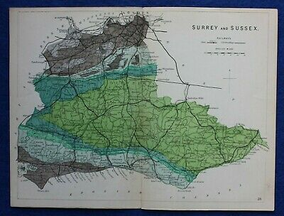 Original antique GEOLOGICAL MAP, SURREY & SUSSEX, RAILWAYS, Reynolds, 1864-89