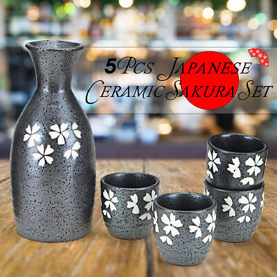 5pcs Japanese Sake Black Ceramic Sakura Set Wine Bottle Cups Handmade