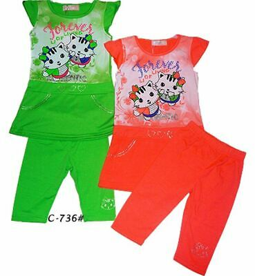 Girls Legging top dress set Printed Kitty Age 2 to 11 years Gift Soft fabric