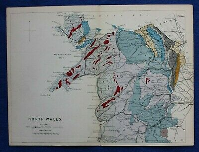 Original antique GEOLOGICAL MAP, NORTH WALES, RAILWAYS, Reynolds, 1864-89