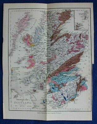 Original antique GEOLOGICAL MAP, SCOTLAND, Reynolds, 1864-89