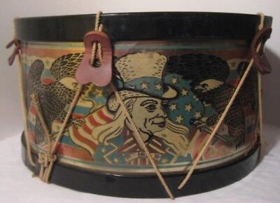 "Unusual Antique Tin Toy Big 13"" Patriotic Drum w Awesome Uncle Sam Images 1900s"
