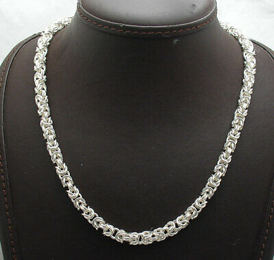 """18"""" Round Byzantine Link Chain Necklace Lobster Lock Real Sterling Silver 925"""