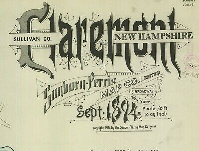 Claremont, New Hampshire~Sanborn Map© sheets~ with 9 maps on a CD~mapped 1894