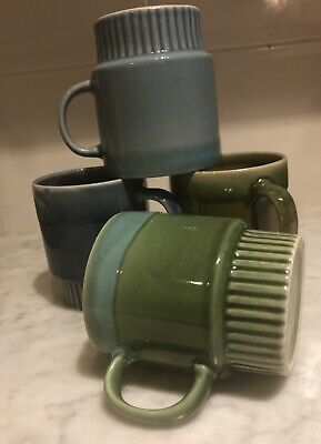 4 X Vintage Stackable Coffee Mugs - Ceramic Dip Glaze - Blue & Green 1970s