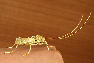 antique chinese old brass hand carved locust statue collectable ornament