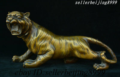 Ancient Chinese Bronze Feng shui Wealth 12 Zodiac Year Animal Tiger Beast Statue