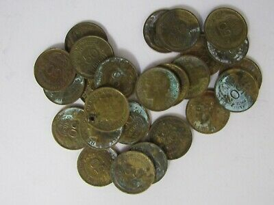 Lot of 25 Old France 1941 Aluminum-Bronze 50 Centime Coins - Circulated