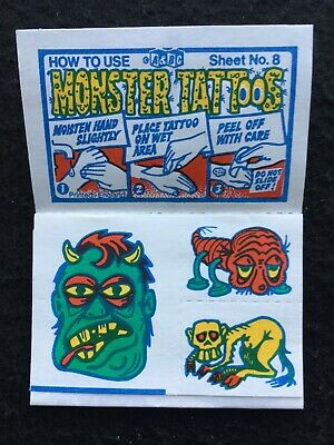 A&BC 1970 Monster Tattoos No. 8 Unused Complete Transfer Sheet - See Description