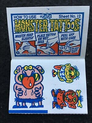 A&BC 1970 Monster Tattoos No.12 Unused Complete Transfer Sheet - See Description