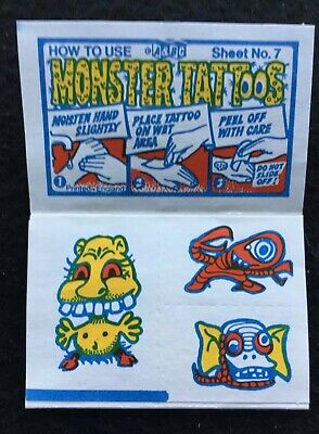 A&BC 1970 Monster Tattoos No. 7 Unused Complete Transfer Sheet - See Description