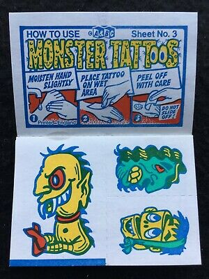 A&BC 1970 Monster Tattoos No. 3 Unused Complete Transfer Sheet - See Description