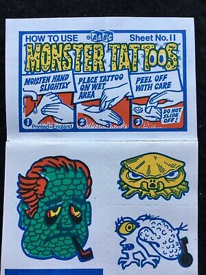 A&BC 1970 Monster Tattoos No.11 Unused Complete Transfer Sheet - See Description