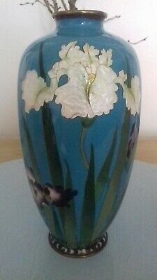 Beautiful Vintage Chinese Cloisonne Vase With turquoise and Irises Lovely!