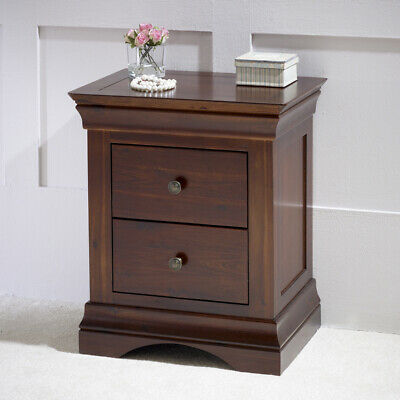 French Hardwood Mahogany Stained 2 Drawer Bedside Table - HW01