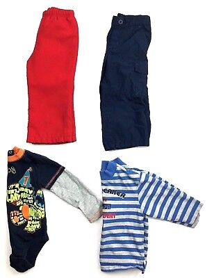 Lot of 4 Toddler Boys Clothes 2 Pants Shirt One Piece Red Blue Size 2T 24 Months