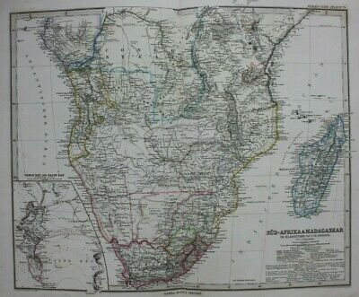 Original antique map SOUTH AFRICA, MADAGASCAR, TABLE BAY, FALSE BAY Stieler 1886