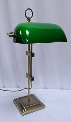 G4063: Exclusive Bankers Lamp,Banker's Lamp,Antique Brass,Green Glass Lampshade
