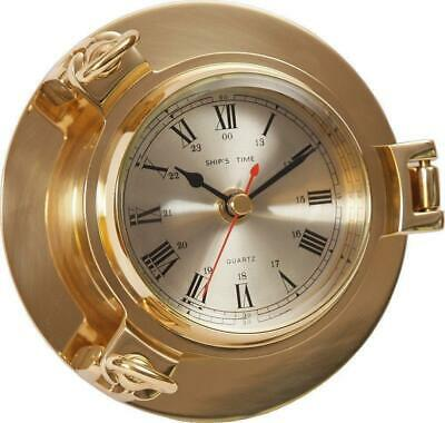 G3071: Classy Portholes Watch Polished Brass Quartz, Central Second Ø 14 CM