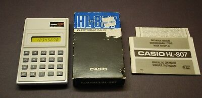 Vintage 1980 Casio Hl-807 Electronic Calculator With Box, Instructions
