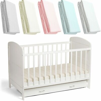2x Cot Fitted Sheet Deluxe Baby 100% Cotton 120x60cm