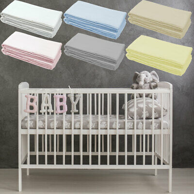 2x Cot Bed Deluxe Fitted Sheet 100% Super Soft Cotton 140x70cm Baby Toddler NEW