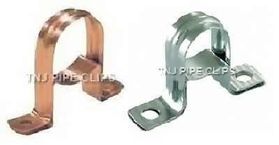 2 PIECE Copper SADDLE Band / Spacing Clip - Copper or Chrome Plated - Pipe Clips
