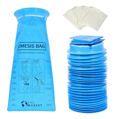 """25 Pack Strong Vomit Bags Barf Emesis Disposable Vomiting For Car, Kids, Uber, """""""